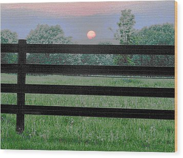 Fenced Sunset 2 Wood Print by Brian Foxx