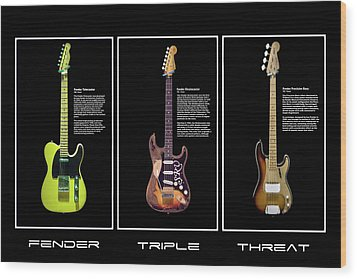 Wood Print featuring the photograph Fender Triple Threat by Peter Chilelli
