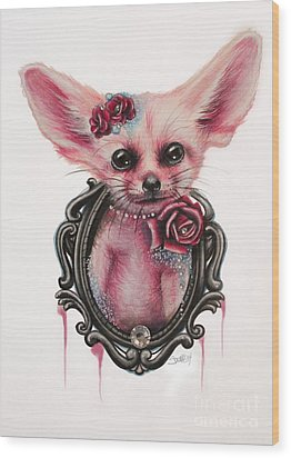 Wood Print featuring the drawing Fennec Fox by Sheena Pike
