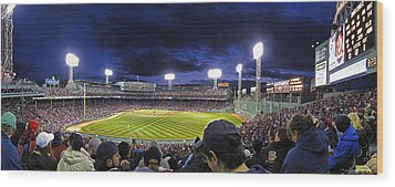 Fenway Night Wood Print