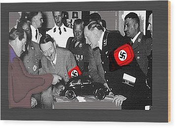 Ferdinand Porsche Showing The Prototype Of The Vw Beetle To Adolf Hitler 1935-2015 Wood Print