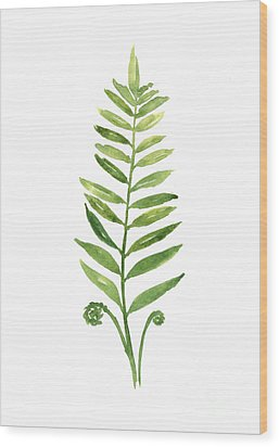 Fern Leaf Watercolor Painting Wood Print
