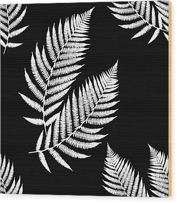 Wood Print featuring the mixed media Fern Pattern Black And White by Christina Rollo