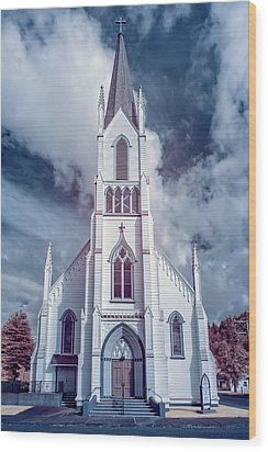 Ferndale Church In Infrared Wood Print by Greg Nyquist