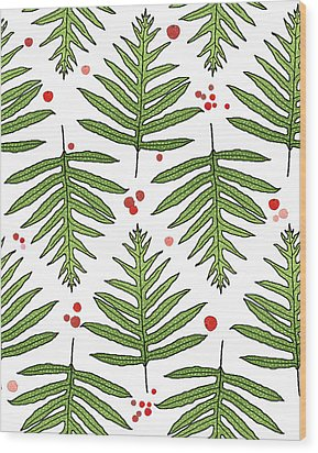 Ferns And Scattered Lychees Wood Print