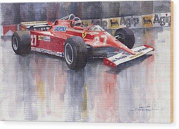 Ferrari 126c 1981 Monte Carlo Gp Gilles Villeneuve Wood Print by Yuriy  Shevchuk