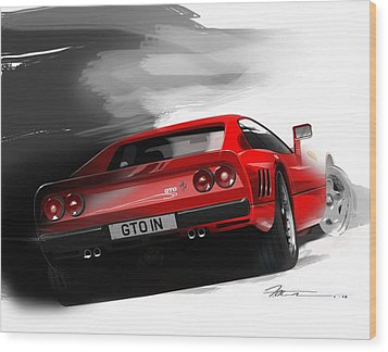 Ferrari 288 Gto Wood Print by Fred Otene