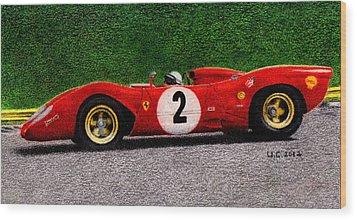 Ferrari 312p Pedro Rodriguez 1969 Wood Print by Ugo Capeto