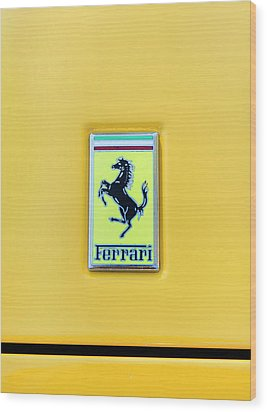 Wood Print featuring the photograph Ferrari Badge by Theresa Tahara
