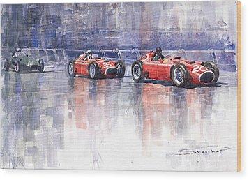 Ferrari D50 Monaco Gp 1956 Wood Print by Yuriy  Shevchuk