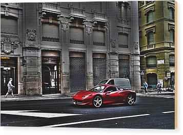 Ferrari In Rome Wood Print by Effezetaphoto Fz