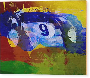 Ferrari Testarossa Watercolor Wood Print by Naxart Studio