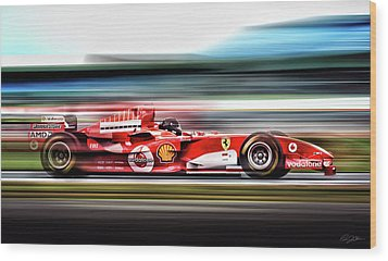 Ferrari Unbridled Wood Print by Peter Chilelli