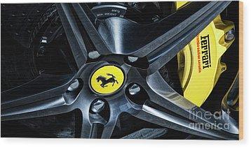 Ferrari Wheel I Wood Print