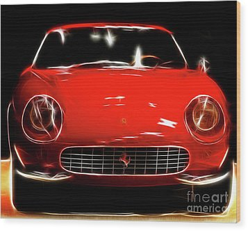 Ferrari Wood Print by Wingsdomain Art and Photography