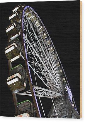 Ferris Wheel At Night 16x20 Wood Print