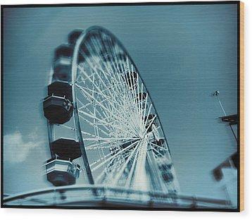 Wood Print featuring the photograph Blue Ferris Wheel by Douglas MooreZart