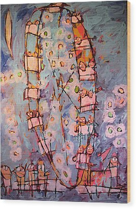 Ferris Wheel Of Life Sold Wood Print by Charlie Spear