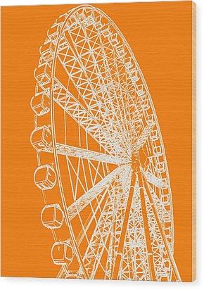 Ferris Wheel Silhouette Orange White Wood Print by Ramona Johnston