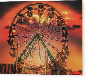 Wood Print featuring the photograph Ferris Wheel Sunrise by Steve Benefiel