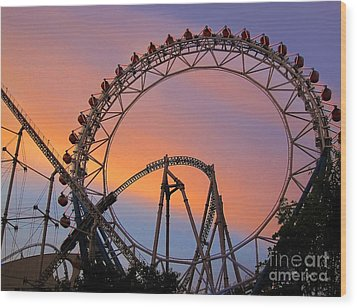 Ferris Wheel Sunset Wood Print by Eena Bo