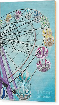 Ferris Wheel View Wood Print by Glenda Zuckerman