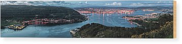 Ferrol's Estuary Panorama From La Bailadora Galicia Spain Wood Print by Pablo Avanzini