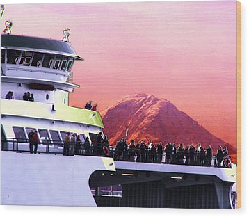 Ferry And Da Mountain Wood Print by Tim Allen