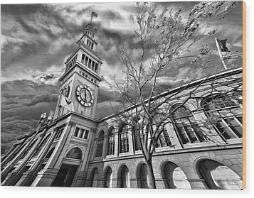 Ferry Building Black  White Wood Print