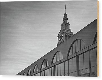Ferry Building San Francisco I Bw Wood Print by David Gordon