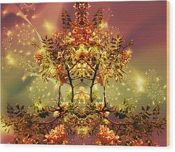 Festive Fractal Wood Print