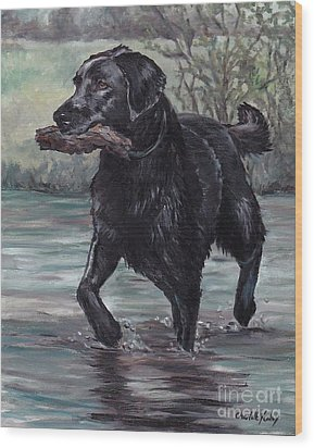 Fetch Wood Print by Charlotte Yealey