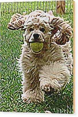 Fetch Wood Print by Laura Brightwood