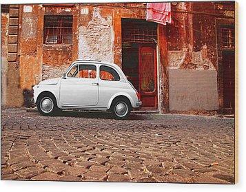 Fiat 500 Wood Print by Valentino Visentini