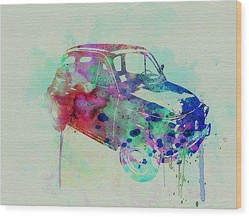 Fiat 500 Watercolor Wood Print by Naxart Studio