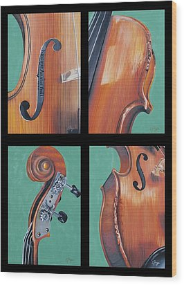 Fiddle Quartet Wood Print by Emily Page