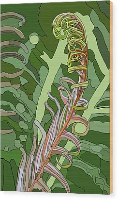 Fiddlehead Wood Print by Jamie Downs