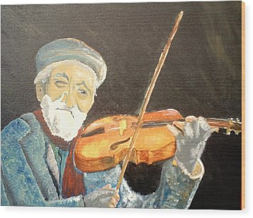 Fiddler Blue Wood Print by J Bauer