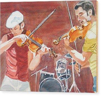 Fiddles Wood Print by Karen Ilari
