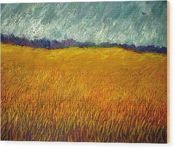 Field At Noon Wood Print by Kent Whitaker