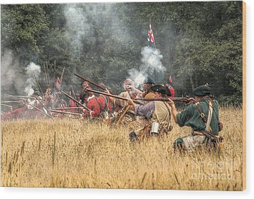 Field Of Fire French And Indian War Battle Wood Print by Randy Steele