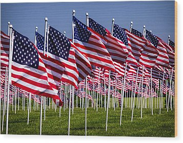 Field Of Flags For Heroes Wood Print