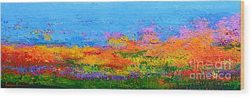 Abstract Field Of Wildflowers, Modern Art Palette Knife Wood Print