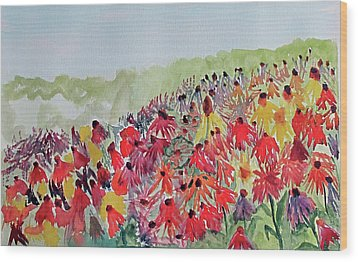 Wood Print featuring the painting Field Of Flowers by Sandy McIntire