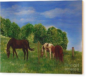 Field Of Horses' Dreams Wood Print