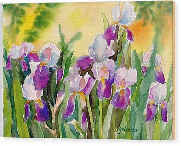 Wood Print featuring the painting Field Of Irises by Yolanda Koh
