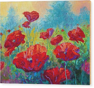 Field Of Red Poppies Wood Print by Marion Rose
