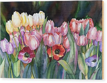 Wood Print featuring the painting Field Of Tulips by Yolanda Koh