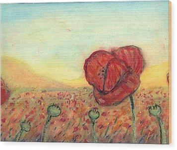 Field Poppies Wood Print by Robert Wolverton Jr