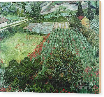 Field With Poppies Wood Print by Vincent Van Gogh